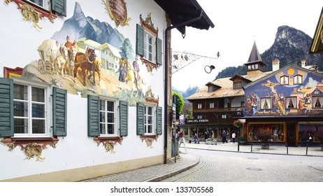 OBERAMMERGAU, GERMANY-JUNE 10: Unique houses. Houses are painted the religious themes.Some of the houses are painted with scenes from Little Red Riding Hood and ect;June 10,2012 Oberammergau,Germany