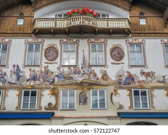 OBERAMMERGAU - OCTOBER 13 : City scenes and building paintings in Oberammergau, Germany, under misty morning sky, on October 13, 2016.