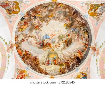 OBERAMMERGAU - OCTOBER 13: Interior architecture and decorations of Saint Peter and Paul Catholic Parish church in Oberammergau, Germany, on October 13, 2016.