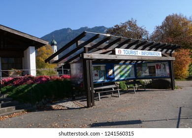OBERAMMERGAU - OCTOBER 17 2018 :In front of tourism information center of Oberammergau city, Germany.