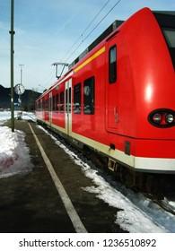 Oberammergau/Germany - December 25,2007 : Red train from Munich to Garmisch-Partenkirchen stop at Oberammergau , Bavaria, Germany.