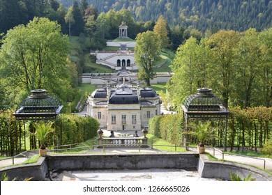 Oberammergau/Germany - September 27, 2011: Panorama of Linderhof Palace