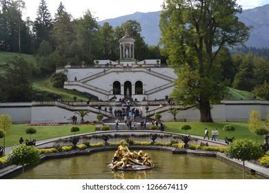 Oberammergau/Germany - September 27, 2011: Park with Lake near Linderhof Palace