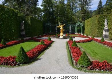 Oberammergau/Germany - September 27, 2011: Statue of Angel in Linderhof Park