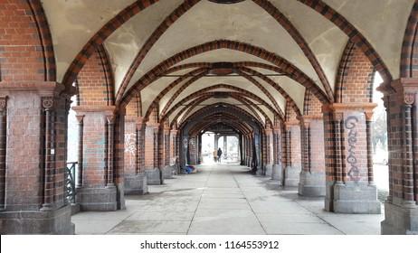 Oberbaum Bridge Empty in Berlin and river Spree.