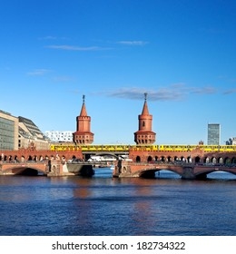 oberbaum bridge and river spree in berlin germany