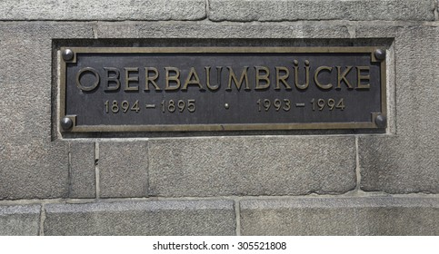 oberbaumbrucke sign on  a brick wall, Berlin, Germany