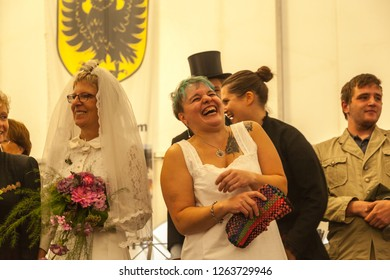 Oberdigisheim,Germany- Sept.01,2018:Fashion Show at 1250 years village celebration