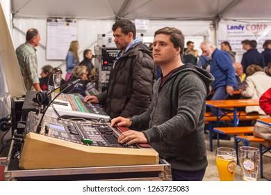 Oberdigisheim,Germany- Sept.01,2018:Soundcheck at 1250 years village celebration