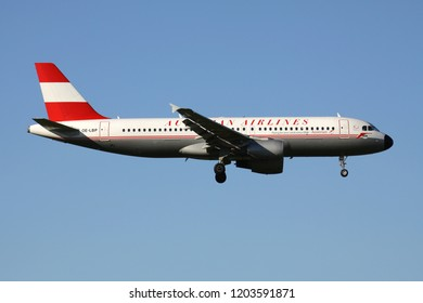 OBERGLATT, SWITZERLAND - June 26, 2011: Austrian Airlines Airbus A320-200 in special retro livery with registration OE-LBP on short final for runway 14 of Zurich Airport.