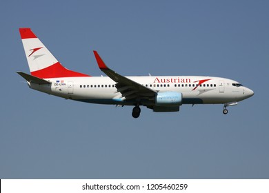 OBERGLATT, SWITZERLAND - June 27, 2011: Austrian Airlines Boeing 737-700 with registration OE-LNN on short final for runway 14 of Zurich Airport.
