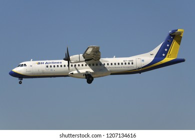 OBERGLATT, SWITZERLAND - June 27, 2011: B&H Airlines ATR 72 with registration E7-AAD on short final for runway 14 of Zurich Airport. B&H Airlines flew its last commercial service on 11 June 2015.