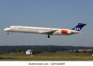 OBERGLATT, SWITZERLAND - June 27, 2011: Scandinavian Airlines SAS McDonnell Douglas MD-82 with registration LN-RMO on short final for runway 14 of Zurich Airport.