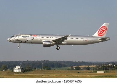 OBERGLATT, SWITZERLAND - June 28, 2011: Niki Airbus A321-200 (old livery) with registration OE-LEZ on short final for runway 14 of Zurich Airport.