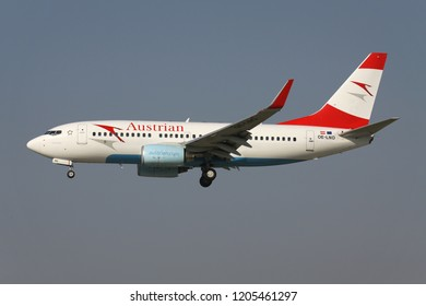 OBERGLATT, SWITZERLAND - June 28, 2011: Austrian Airlines Boeing 737-700 with registration OE-LNO on short final for runway 14 of Zurich Airport.