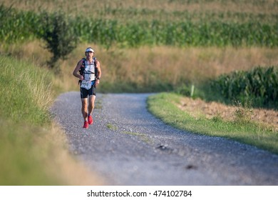 OBERGRAFENDORF, AUSTRIA - AUGUST 1, 2015: Alexander Holl (#59 Germany) participates in an Ultratrail running event.