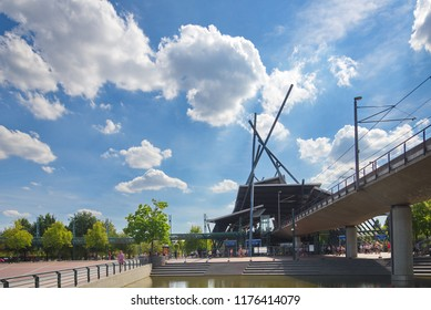 Oberhausen, Germany-4 AUGUST 2018:  Neue Mitte U bahn station, light rail station, fascinate deconstruction architecture style with outstanding roof and column structure in front of CentrO.