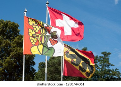 Oberhofen/Switzerland - August 25 2015: Canton Swiss flags on the shores of lake Thun, Switzerland.