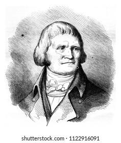 Oberkampf, vintage engraved illustration. Magasin Pittoresque 1858.