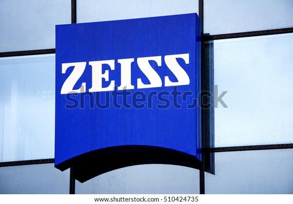 OBERKOCHEN, GERMANY - OCTOBER 10. Signboard Carl Zeiss AG, factory of camera lenses on October 10, 2013.