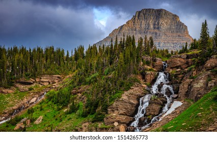 Oberlin Falls on the Going-to-the-Sun Road in Glacier National Park, Montana
