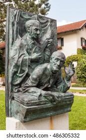 "Oberndorf bei Salzburg, Austria - August 30, 2016: A memorial to Franz Xaver Gruber and Joseph Mohr - the authors of a Christmas carol ""Silent Night"" (""Stille Nacht""),  composed in 1818."