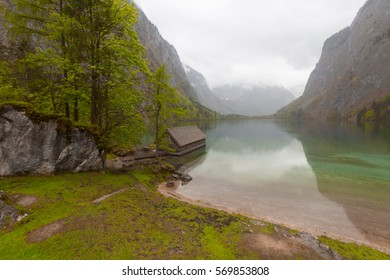 Obersee - mountain lake in Alps. Bavaria, Germany