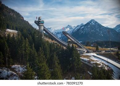 Oberstdorf - View to Ski-Jump, Bavaria, Germany, Oberstdorf 23.02.2017