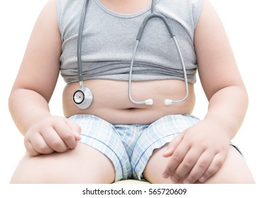 Obese asian boy show belly with stethoscope, isolated on white background