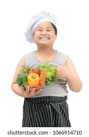 obese boy chef smaile and like to eat vegetables in bowl isolated on white background, healthy food concept