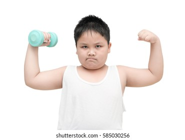 obese fat boy is doing exercises with dumbbells; isolated on white background with copy space