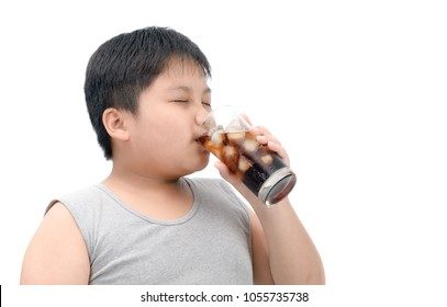 Obese fat boy drinking cola isolated on white background, junk food concept