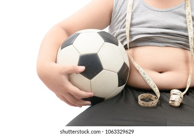 Obese fat boy holding football isolated over white, diet to lose weight and healthy concept