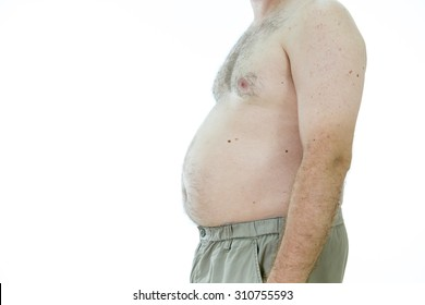 Obese man with fat stomach, side view