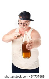 Obese man in tee shirt on white background with bottle and cigar