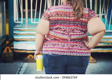 Obese woman at a carnival