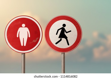Obesity, overweight, diet - fat man and a woman running away from him. Road signs.
