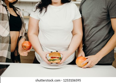 obesity prevention, conscious eating, nutrition choices, mindfulness and healthy lifestyle. group of people with junk and proper food.
