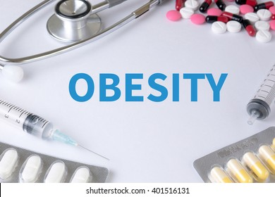 OBESITY Text, On Background of Medicaments Composition, Stethoscope, mix therapy drugs doctor flu antibiotic pharmacy medicine medical