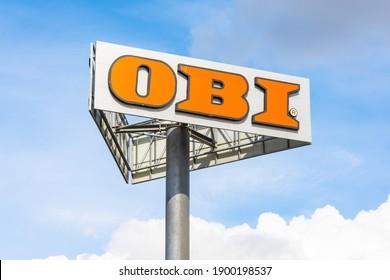 Obi logo construction supermarket. Russia, Saint-Petersburg. 18 may 2020