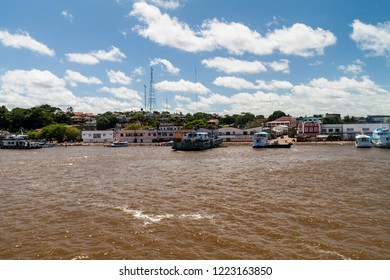 OBIDOS, BRAZIL - JUNE 28, 2015: View of boats in a port in Obidos town, Brazil