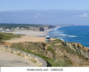 The obidos lagoon and sea, in the atlantica coast of portugal