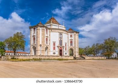 Obidos / Leiria / Portugal - 04 04 2019 :Full panoramic view of the classic baroque building, Lord Jesus da Pedra Sanctuary, Catholic religious building in Obidos, Portugal