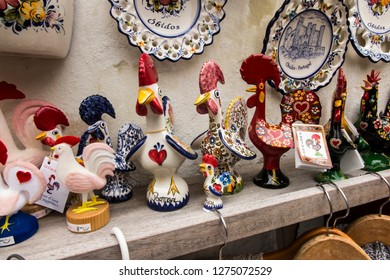 Obidos, Portugal, 15 June 2018: Souvenirs at a roadside stall in the old tourist town of Obidos in Portugal