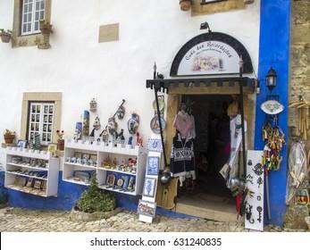 OBIDOS, PORTUGAL - APRIL 25: Traditional Portuguese souvenirs in Obidos, Portugal in 2017