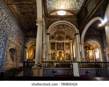 Obidos, Portugal, August 9, 2017: Church of Santa Maria in Obidos, Portugal, originated in the 12th century, decorated with 17th century paintings by Joao da Costa.