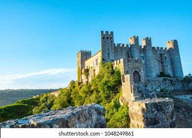 OBIDOS, PORTUGAL. The Castle of Obidos (Castelo de Obidos) is a well preserved medieval palace in the town of Obidos in Western Portugal at morning.