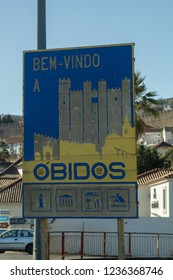 Obidos / Portugal - December 02 2018: Welcome sign for Obidos Portugal