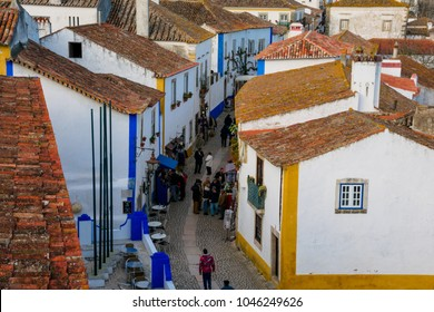 Obidos, Portugal. January 27, 2018. View of the medieval Obidos city. Main street and shops