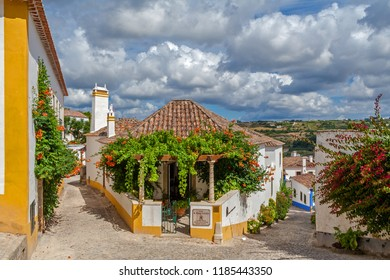 Obidos, Portugal - July 19, 2017: Casa Sao Thiago do Castelo Manor Guest House. Obidos is a medieval town still inside castle walls, and very popular among tourists.